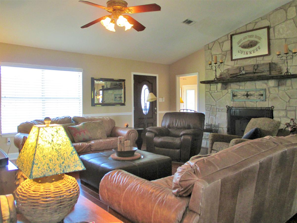 View of living room looking towards the front door at 503 Oak Bend.