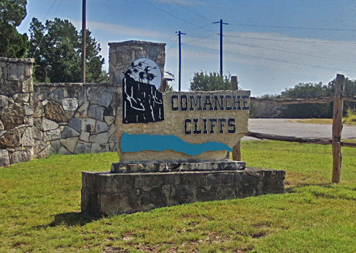 Comanche Cliffs sign.