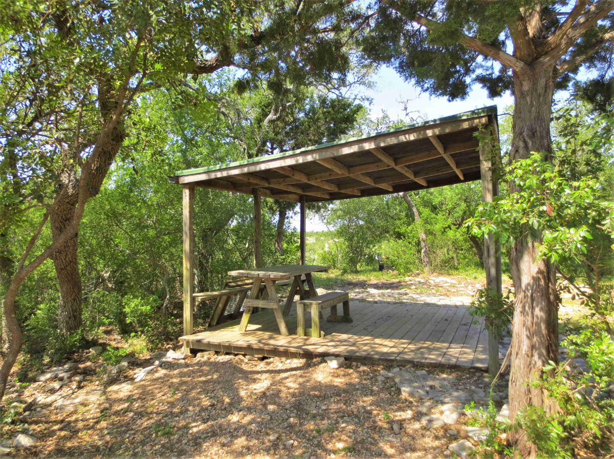 View of picnic pavillion surrounded by oaks